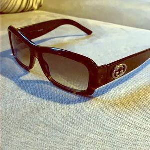 Gucci dark tortoise rectangular sunglasses